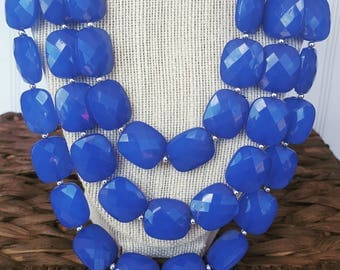 FREE EARRINGS Cobalt Blue Triple Strand Chunky Statement Bib Necklace...Purchase 3 or more get 10% off