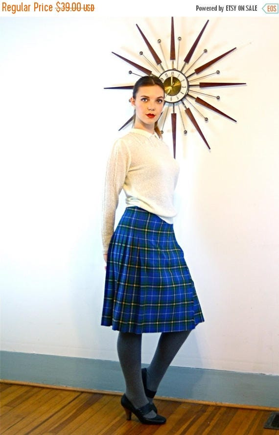SALE 50% OFF Vintage 60s Plaid Wool Wrap Skirt High Waisted Pleated Blue Green Yellow Black Knee Length Button 1960s Tartan Print Surrey Cla