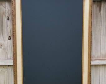 Framed Chalkboard, Antique Wood Frame, Gold Accent, Carved Wood, Blackboard, Retaurant Chalkboard