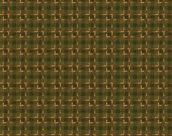 NEW Crafty Cats Craft 100% Cotton Quilt Fabric Just under 2 Yards of Green Plaid