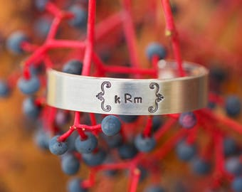 Silver Monogram Bracelet/ Monogram Jewelry/ Gift for Her/ Personalized Monogram Bracelet/ Silver Bracelet Cuff/ Custom Silver Bracelet