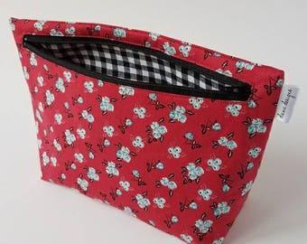 Vintage Red Floral Makeup Bag- Accessory Bag