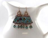 Handmade Turquoise and Copper Chandelier Enameled Earrings, Turquoise Earrings, Boho Earrings,Artisan Earrings, Copper, Long Earrings, AE032