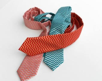SALE Chevron Necktie - Metallic - Red, Teal, or Coral - Skinny or Standard - Men, Teen, Youth       2 weeks before shipping