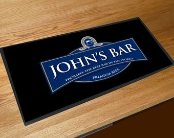 Personalised Blue beer label bar sign runner pubs clubs & cocktail bars **ANY NAME**