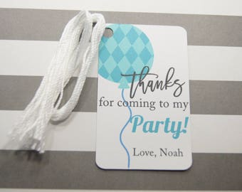 Personalized Birthday Balloon Tags, Thank You Tags, Party Favor Tags, Aqua Balloon Tags, Set of 8, (T13)