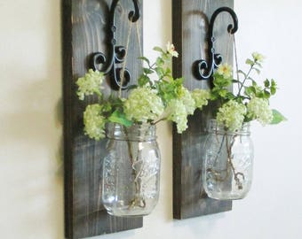 New Larger Rustic Farmhouse Wood Wall Decor...Set of 2 Individual Hanging Mason Jar Sconces on Stained Boards.