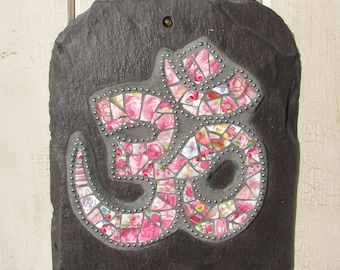 Om Symbol Wall Art in Mosaic ~ Yoga Art ~ Spiritual Home Decor ~ Pink Mosaic Plaque ~ Eco ~ Recycled Art ~ Yoga Gift ~ Ready to Ship