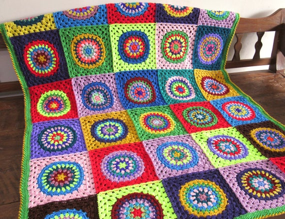 Handmade crochet mandala blanket /throw / afghan.Approximately 53 inches by 47 inches
