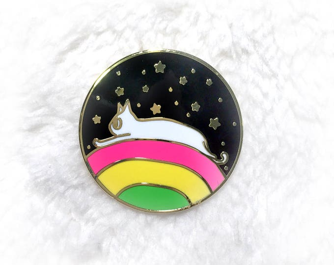 Featured listing image: Rainbow Space Cat Hard Enamel Pin
