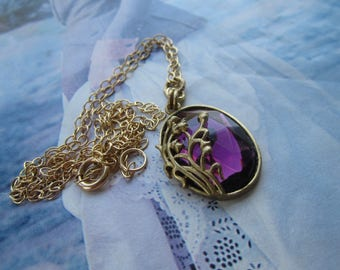 Vintage Amethyst Glass Gem In Lily-Of-The-Valley Pendant Necklace On Gold Plated Chain