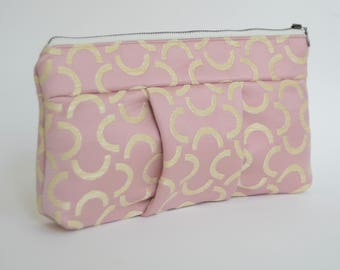 Nana pink and gold satin Sophie clutch