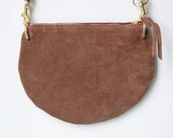 The Mini: Tawny brown suede crossbody bag