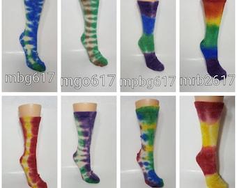 Alpaca Socks, Alpaca Crew Sock, Tie-Dyed Socks, Choose your Color, Hand Painted Socks, Women Size Medium