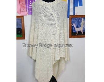 Knit Alpaca Poncho,  Drape Poncho, Suri Alpaca Poncho, Natural White Alpaca, XL