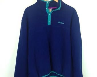 Vintage LL BEAN Mens Large XL Fleece Sweater Sweatshirt Grunge Snaps Teal 90s 80s