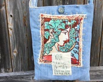 Denim Beaded Unique Girl Handmade Sling Tote, Shoulder Bag, Cross Body, Eco-Friendly, ou Glory God is What Our Hearts Long For,Christian Bag