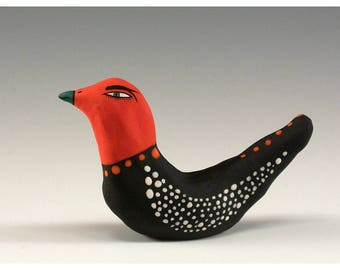 Janis - Red Head Bird Sculpture - Sculpted Ceramic Bird by Jenny Mendes