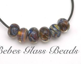Lampwork Boro Beads Set of 6 Handmade Boro Borosilicate  Bebes Glass Beads (Santa Fe Tan)
