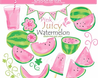 ON SALE - Watermelon Clipart., Summer ice pink watermelon Clipart, fruit melon, small commercial printable!