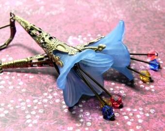Lucite Trumpet Flower Earrings - Victorian Cornflower Blue Lily - Brass Filigree Cone - Swarovski crystals