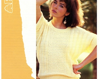 Vintage Patons 7566 Knitting Pattern Women's Short Dolman Sleeve Summer Sweater Bust 32 34 36 38 Small Medium