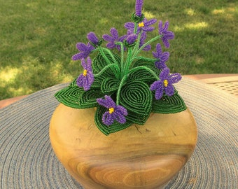 African Violet Bunches - Dee's Beaded Flowers