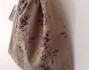 Extra Small Purple Floral Accessory Bag, Cosmetic Bag, Cotton Drawstring Bag, Rosary Pouch, Makeup Bag Handmade in Australia