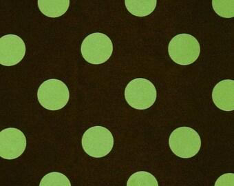 Charmeuse Satin Polka Dot Green/Brown, Fabric By The Yard