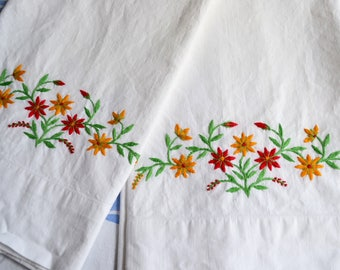 Vintage Pillowcases - Hand Embroidered Red and Yellow Flowers - Standard Size Pair