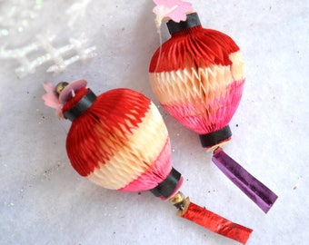 Vintage Christmas Ornaments - Honeycomb Paper Lanterns - 2 Pink and Red