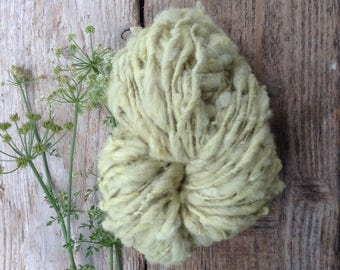 Hand spun, plant dyed, thick and thin yarn, bulky yarn, chunky yarn