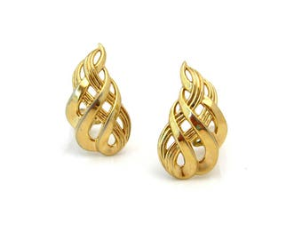 TRIFARI Earrings Open Work Flame | Signed Gold-tone Clip On | Vintage 1960s Costume Jewelry