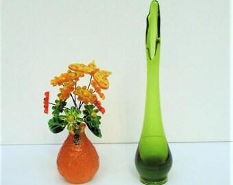 Vintage Viking Swung Glass Bud Vase in Green