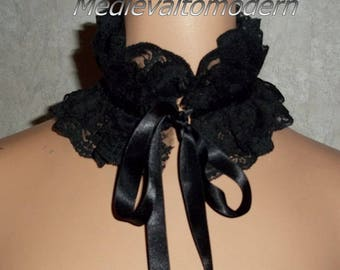 Choker in Jet Black Wide Turn Century Look  Ruffle Neck Collar Formal Necklace Vintage Style