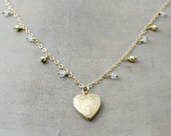 Gold Heart Locket, Gold Fringe Necklace, March Birthstone Locket, Gold Picture Locket, Aquamarine Locket, Push Present, Gold Choker Necklace