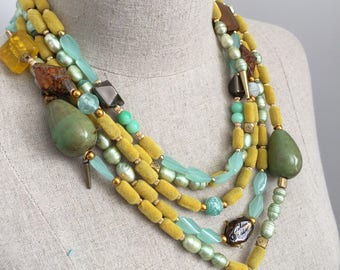 Womens Multilayer Mint Green and Mustard Yellow Statement Necklace with Stone, Felt Beads and Mint Freshwater Pearls