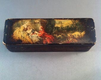 Vintage 1920s Fancy Wood Stamp Box, Stamp Boxes, Collectible Stamp Box, European Early Boxes, Stamp Box, Romantic Stamp Box, Stamps