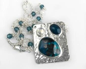 Blue Gemstone Pendant Necklace - Sterling Silver Moonstone Necklace - Apatite - Shattuckite - Rainbow Moonstone - Gemstone jewelry