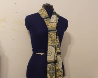 Vintage 100% Silk Green and Yellow Floral Scarf