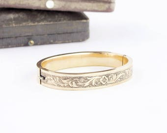 Victorian Bangle Bracelet | Gold Filled Victorian Bracelet | Antique Gold Bangle