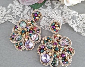 Statement earrings - high fashion earrings - clip on earrings