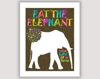 Eat The Elephant, One Bite At A Time, dorm wall art, dorm decor, office art, classroom wall art, team quote, encouragement, colorful art