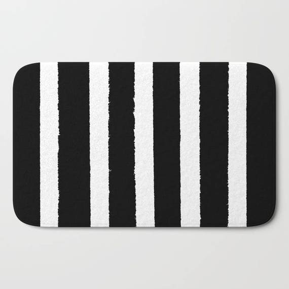 Bath Mat - Black and White Bath Mat - Striped Bath Mat - Bath Rug - Shower Mat - Black Rug - Geometric Rug - Black and White Striped Rug
