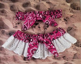 Hot Pink Fuchsia Bandana Paisley Tied Knot White Eyelet Lace Wedding Garter Toss Set