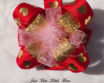 Valentine Hair Bow in Red and Pink