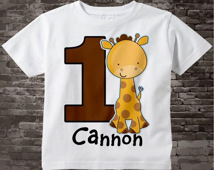 Personalized FIrst Birthday Giraffe Tee Shirt or Onesie, 1st Birthday Giraffe tee, Safari Theme 03142012d