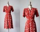 30s Dress - Vintage 1930s Dress - Terra Cotta Polka Dot Print Rayon Puff Sleeve Swing Skirt Dress M - Spanish Dash Dress