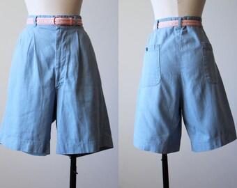 50s Shorts - Vintage 1950s 1960s Shorts - Chambray Blue Denim High-Waisted Bombshell Cotton Shorts XL - Leap Year Shorts