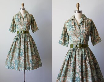 50s Dress - Vintage 1950s Dress - Sage Green Floral Batik Print Cotton Full Skirt Shirt Dress M - Fern Valley Dress